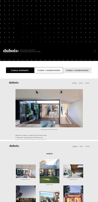 Le site de Dubois, design d'intérieur présente un schème chromatique très épuré et neutre laissant toute la place aux magnifiques photos qui présentent leurs réalisations. Le noir toutefois est très présent comme couleur dominante, étant la couleur de leur image de marque.