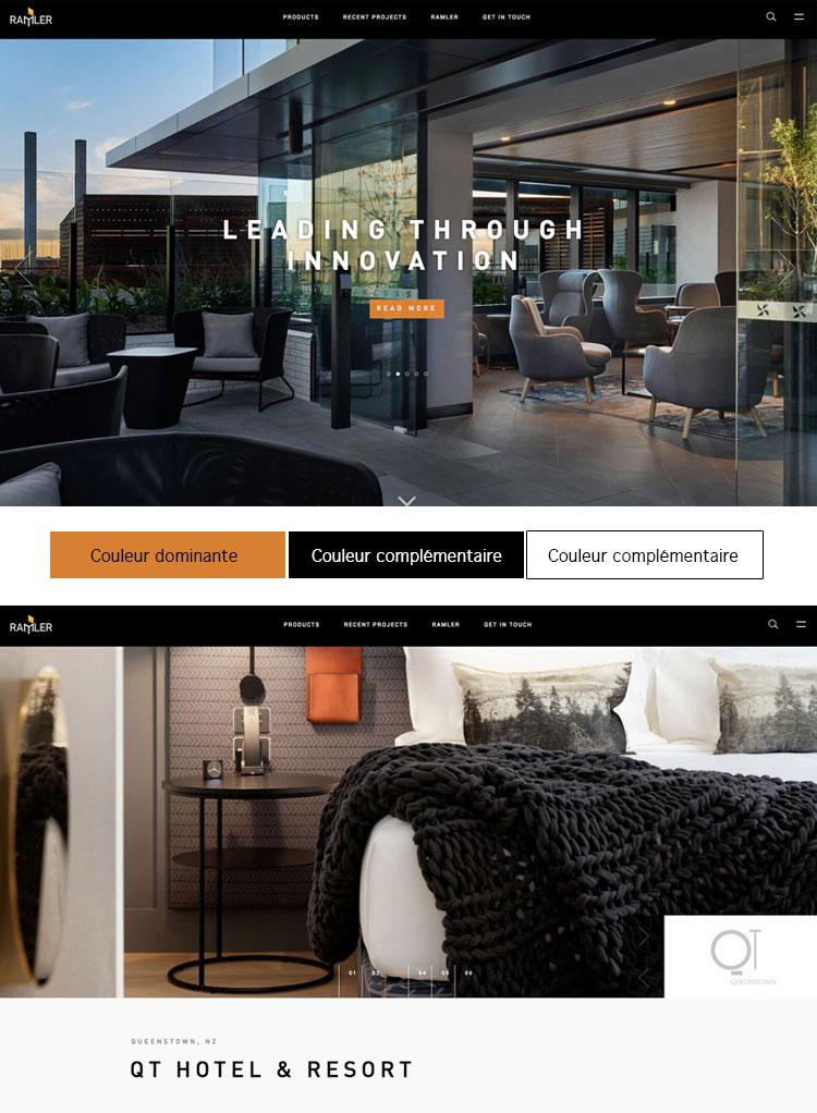 Le design du site Internet ramler.com fait usage de la couleur principale du logo, un orange brûlé comme couleur dominante et pour identifier les boutons et les liens de navigation.