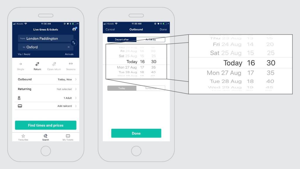 L'application britannique Trainline fait usage d'une roulette numérique pour permettre à l'usager de choisir les dates de départ et d'arrivée des billets de train qu'il réserve. Une belle façon d'éviter l'utilisation du clavier! Source de la capture d'écran: Application Trainline